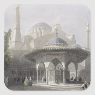 Court and Fountain of St. Sophia, Istanbul, engrav Square Sticker