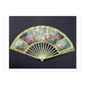 Court Fan, French, 18th century  (ivory and w/c on Postcard