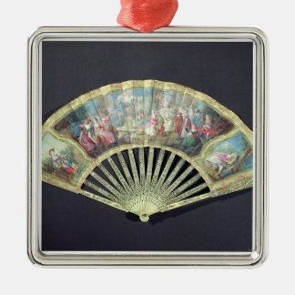 Court Fan, French, 18th century  (ivory and w/c on Silver-Colored Square Decoration