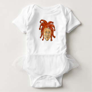Court Jester Head Drawing Baby Bodysuit