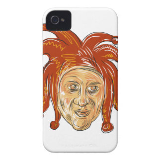 Court Jester Head Drawing iPhone 4 Case-Mate Case