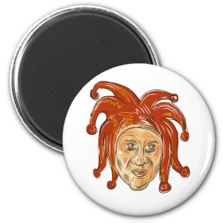 Court Jester Head Drawing Magnet