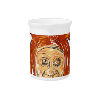 Court Jester Head Drawing Pitcher