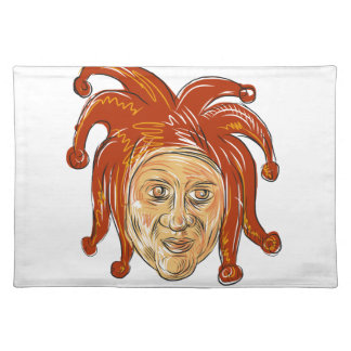Court Jester Head Drawing Placemat
