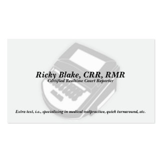 Court Reporter Black Steno Machine Business Cards
