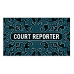 Court Reporter Teal Damask Business Card