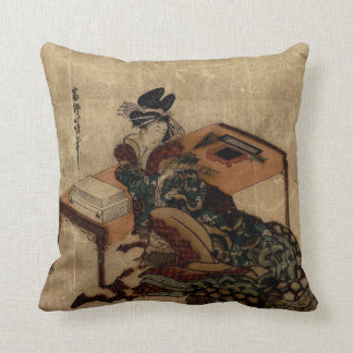courtesan holding a poem card cushion
