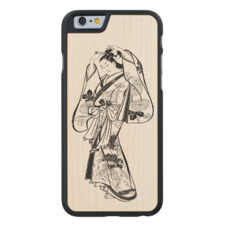 Courtesan Placing a Hairpin in Her Hair Carved Maple iPhone 6 Case