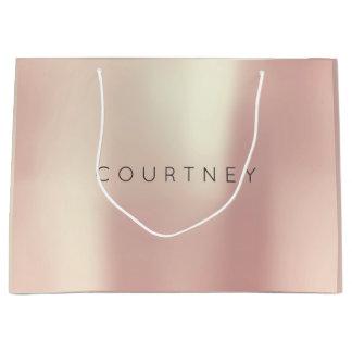 COURTNEY Rose Gold Blush Pearly Minimal Gift Large Gift Bag