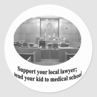 Courtroom Scene with Attorney quote Round Sticker
