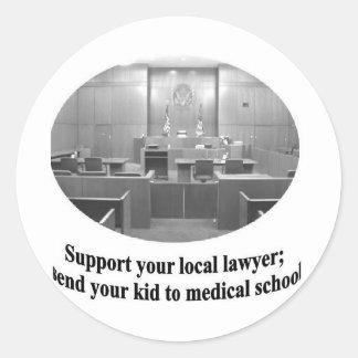 Courtroom Scene with Attorney quote Round Sticker
