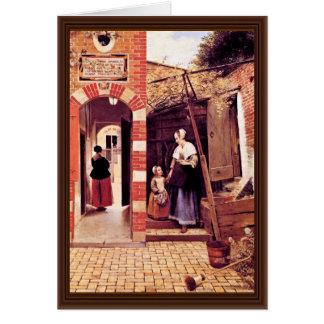 Courtyard Of A House In Delft By Hooch Pieter De ( Card