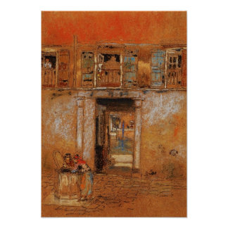 Courtyard on Canal, grey and red by Whistler Poster