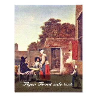 Courtyard With Two Officers And Drinking Woman By 21.5 Cm X 28 Cm Flyer