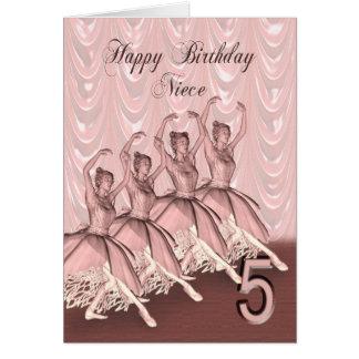 Cousin age 5, a ballerina birthday card