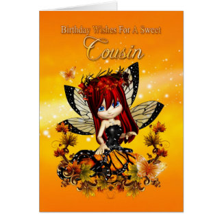 cousin birthday card - birthday autumn color fairy