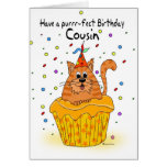 cousin birthday card with ginger cupcake cat