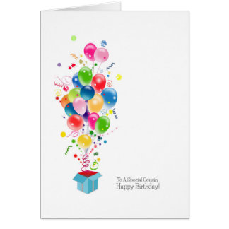Cousin Birthday Cards, Colorful Balloons In Box Card