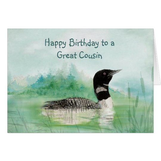 Cousin Birthday Watercolor Loon Bird Nature Card