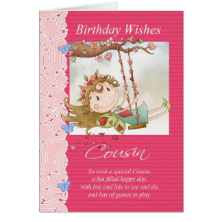 cousin birthday wishes greeting card with fairy
