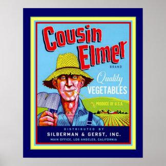 """Cousin Elmer"" Vintage Veggie Ad- 16 x20 Poster"