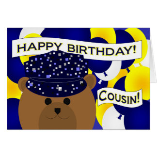 Cousin - Happy Birthday Navy Active Duty! Greeting Card