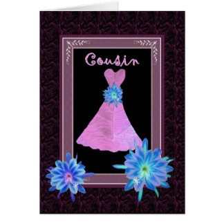 COUSIN Junior Bridesmaid - Purple Gown and Flowers Card
