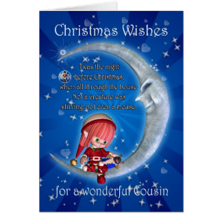 cousin, night before Christmas with elf an Greeting Card