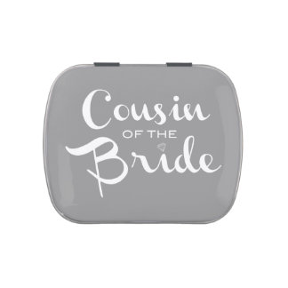 Cousin of Bride White on Grey Jelly Belly Tin
