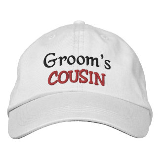 COUSIN of the GROOM Custom Name WHITE A07C7E Embroidered Hat