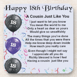 Cousin Poem 18th Birthday Beverage Coaster