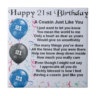 Cousin Poem 21st Birthday Small Square Tile