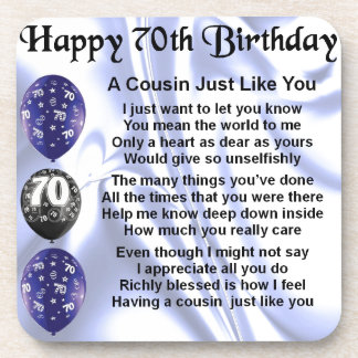 Cousin poem 70th Birthday Coaster