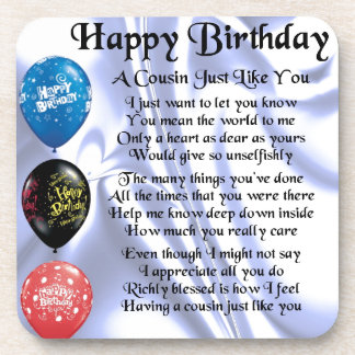 Cousin poem  Happy Birthday Drink Coaster