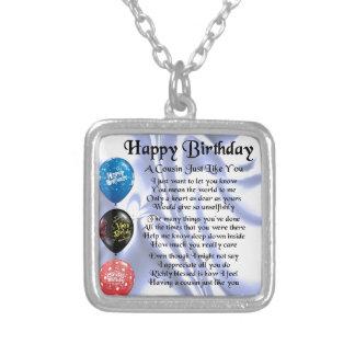 Cousin poem  Happy Birthday Square Pendant Necklace