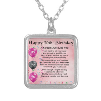 Cousin Poem - Pink - 30th Birthday Silver Plated Necklace