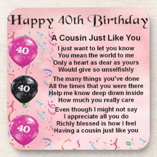 Cousin poem - pink - 40th birthday coasters