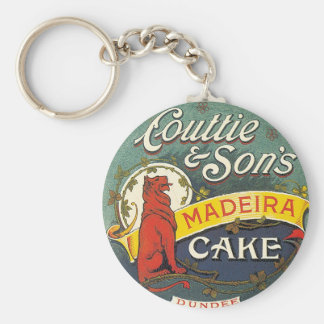 Couttie & Son's Madeira Cake Dundee Vintage Label Basic Round Button Key Ring