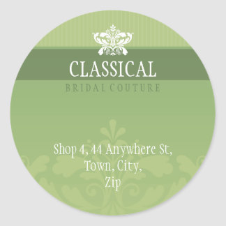 COUTURE ADDRESS LABEL :: classy flourish 7 Round Sticker