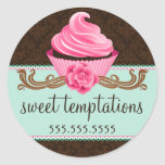 Couture Cupcake Bakery Round Sticker