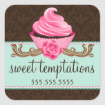 Couture Cupcake Bakery Square Stickers
