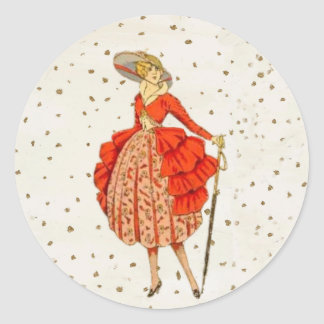 COUTURE. FASHION, VINTAGE FRENCH BELLE EPOQUE CLASSIC ROUND STICKER