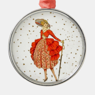 COUTURE. FASHION, VINTAGE FRENCH BELLE EPOQUE METAL ORNAMENT