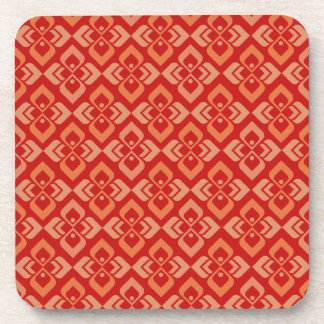 Couture inspired red orange patterned coaster