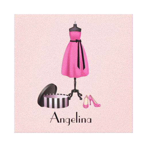 Couture Pink Dress on Form with your Name - Canvas Canvas Prints