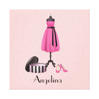 Couture Pink Dress on Form with your Name - Canvas Stretched Canvas Prints