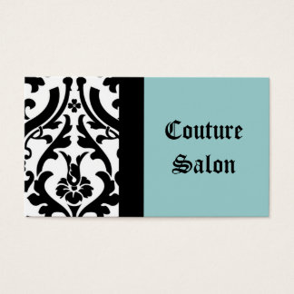 Couture Salon Damask Blue Business Card