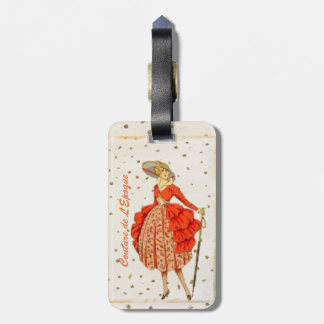 COUTURE TRAVEL LUGGAGE TAG, VINTAGE FRENCHF ASHION LUGGAGE TAG