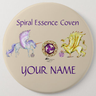 Coven Symbol Spiral Essence Unicorn Griffon Celtic 6 Cm Round Badge