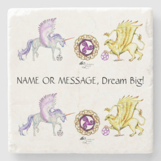 Coven Symbol Spiral Essence Unicorn Griffon Celtic Stone Coaster